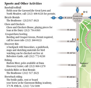 Sports and other activities available in Central Park
