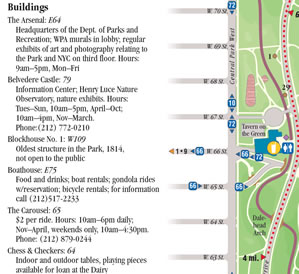List of buildings in Central Park on the Central Park Map and Guide