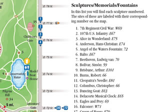 List of scupltures within Central Park and where to find them